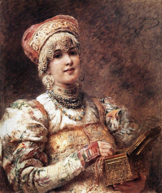 Russian beauty, Konstantin Makovsky painting 14
