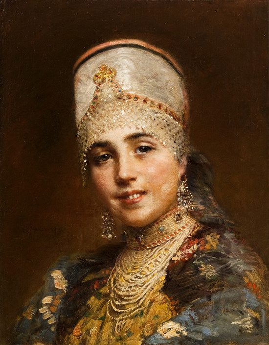 Russian beauty, Konstantin Makovsky painting 4
