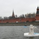 Polar bear floated past the Kremlin walls