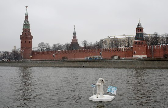 Polar bear floated past the Kremlin walls, Moscow, Russia photo 6