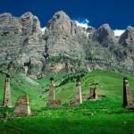 The beautiful scenery of the mountain Ingushetia