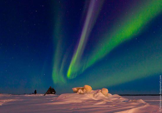 Northern Lights (Aurora Borealis) in the sky over Karelia, Russia photo 5