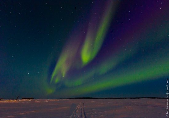 Northern Lights (Aurora Borealis) in the sky over Karelia, Russia photo 7