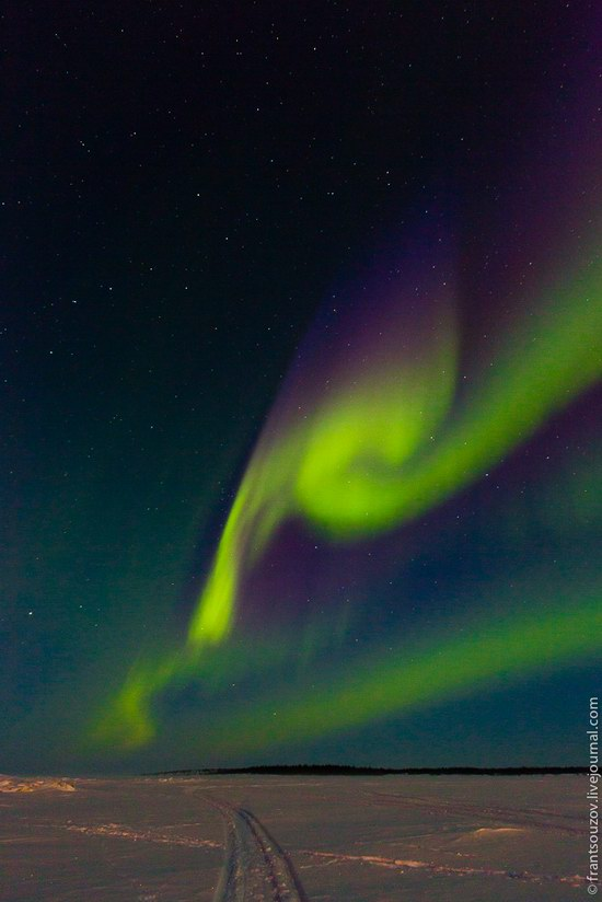 Northern Lights (Aurora Borealis) in the sky over Karelia, Russia photo 9