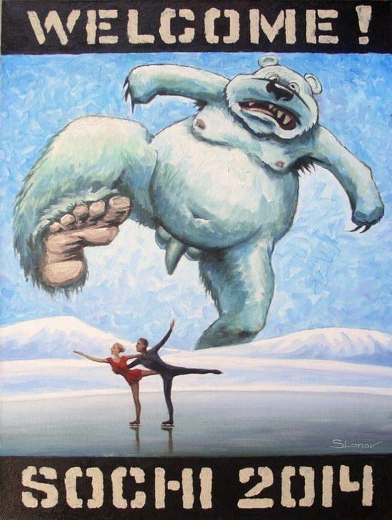 """Exhibition """"Welcome! Sochi 2014"""", Perm, Russia caricature 17"""