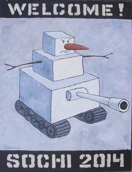 """Exhibition """"Welcome! Sochi 2014"""", Perm, Russia caricature 4"""