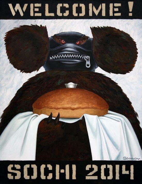 """Exhibition """"Welcome! Sochi 2014"""", Perm, Russia caricature 8"""