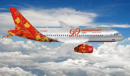 Plane painted in Khokhloma style, Aeroflot, Russia photo 1
