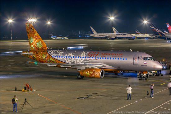 Plane painted in Khokhloma style, Aeroflot, Russia photo 4