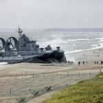 Soviet Military Hovercraft Invading Peaceful Beach