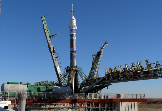 """Soyuz"" Spacecraft with a Torch of ""Sochi-2014"" Olympics, Baikonur Cosmodrome, Kazakhstan"