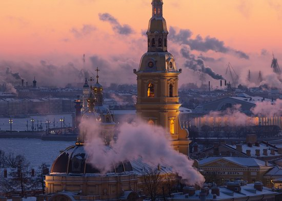 Smoke City - Saint Petersburg, Russia on a frosty day