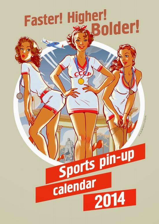 Soviet sports pin-up calendar 2014, cover