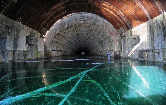 Abandoned shelter-base for Soviet submarines