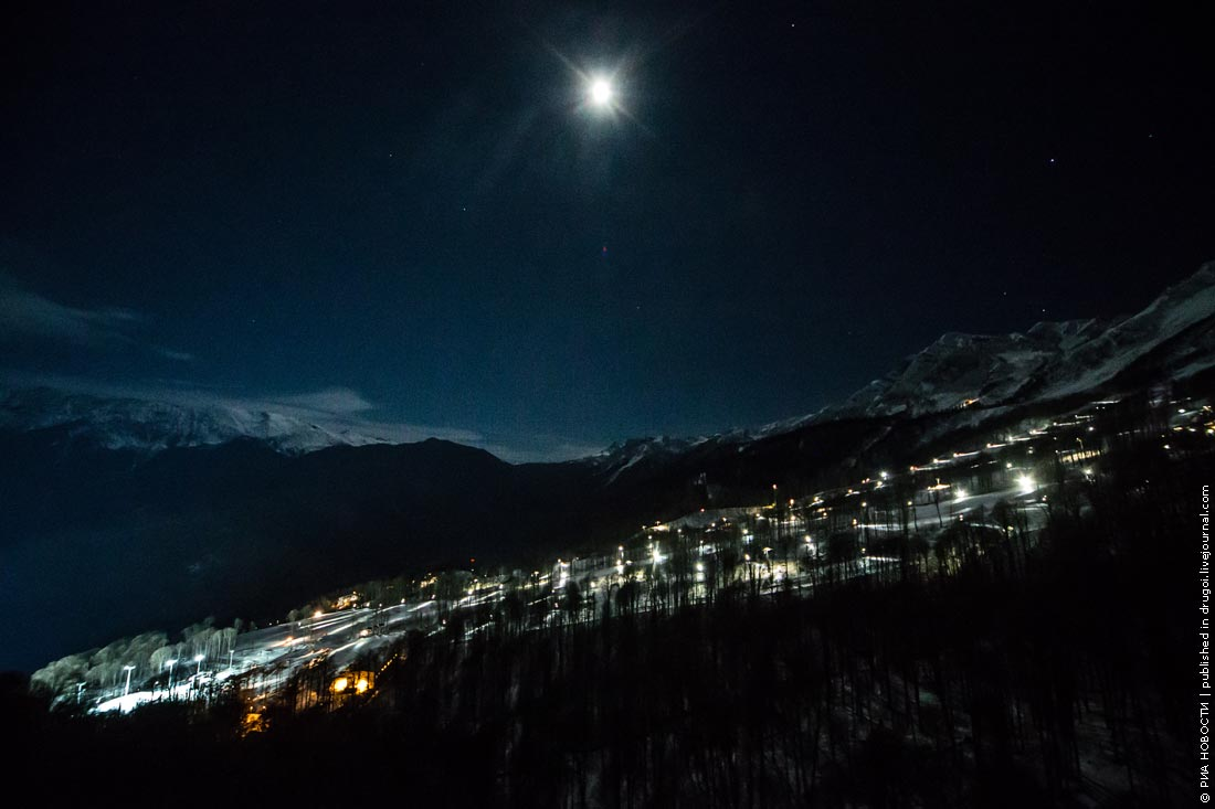 The Mountain Cluster of the Sochi Olympics at night ...