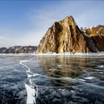 Crystal clear ice of the frozen Baikal Lake