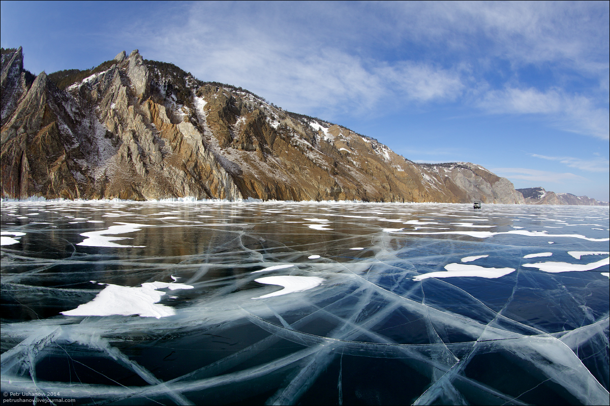 lake baikal in russia » lake baikal is the deepest lake in the world with a maximum depth of 1,632m » it is also the world's largest volume of fresh water 23,000 cubic km.