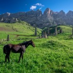 Majestic landscapes of the mountain Ingushetia