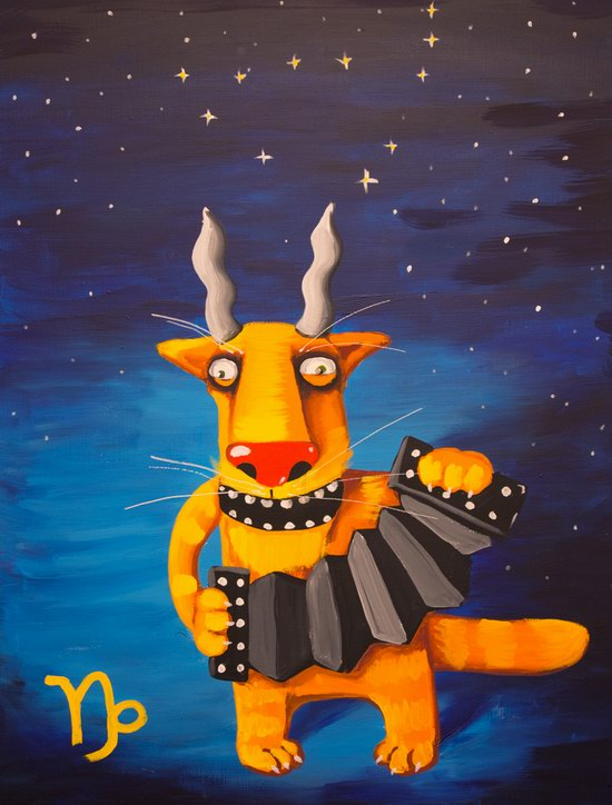 "The cat zodiac signs - ""Goat-horned"" (The Sea-Goat)"