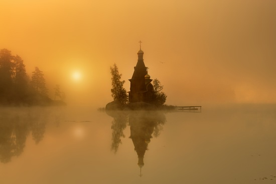 The church of St. Andrew on the Vuoksa River, Russia