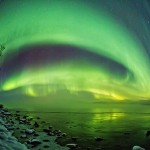 Northern lights in the sky over Murmansk region