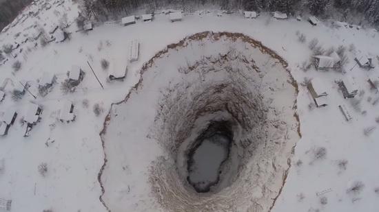 Giant sinkhole, Solikamsk, Perm region, Russia