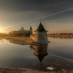 Early spring in the ancient town of Pskov
