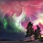 Multicolored aurora borealis in the Northern Urals