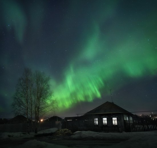 Multicolored aurora borealis, Sverdlovsk region, Russia, photo 11