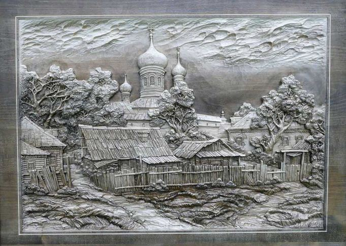 Carved wooden pictures made by dubovik family · russia
