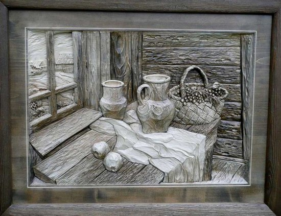 Carved wooden pictures, Dubovik family, Russia, photo 3