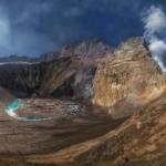 Beautiful scenery of Mutnovsky volcano and surroundings