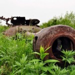 Abandoned tanks on Shikotan Island