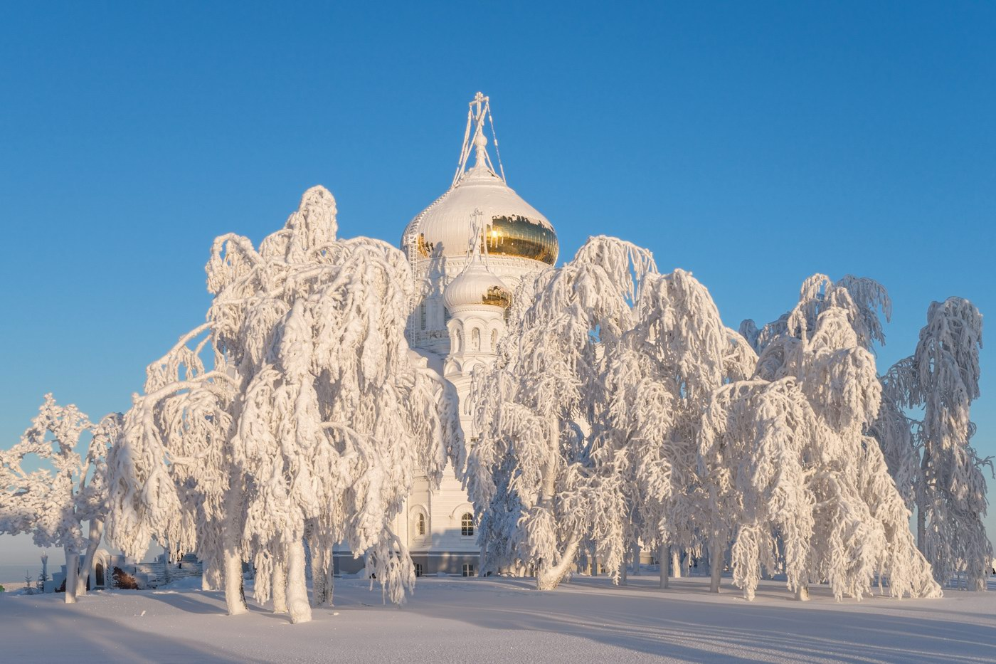 holy cross cathedral on the white mountain in the perm