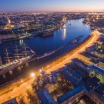 St. Petersburg at night – the view from above