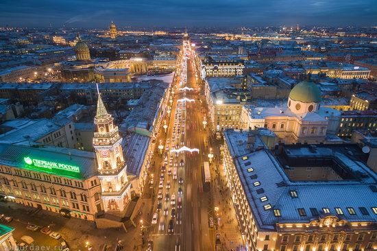Saint Petersburg at night - the view from above, Russia, photo 26