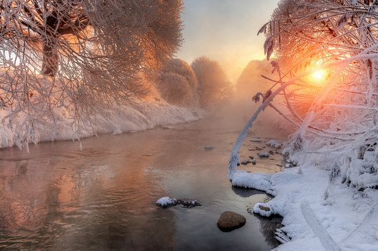 Frosty January on Murinskiy Stream, St. Petersburg, Russia, photo 1
