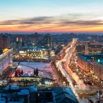 Winter in Perm city – the view from above