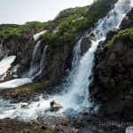 The white waterfalls of the southern Kamchatka