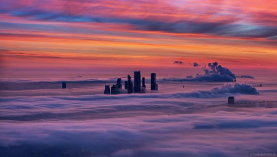 Moscow covered by low clouds, Russia, photo 1