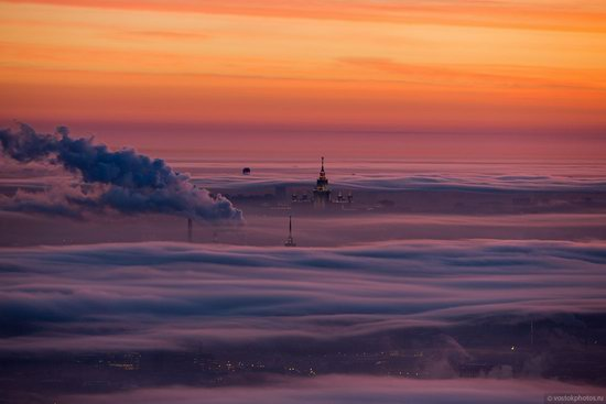 Moscow covered by low clouds, Russia, photo 11