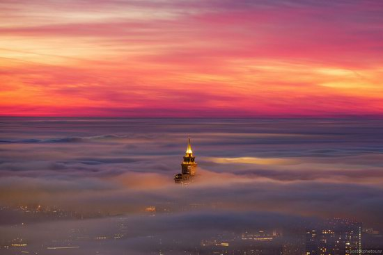 Moscow covered by low clouds, Russia, photo 13