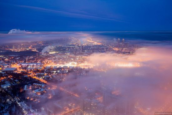 Moscow covered by low clouds, Russia, photo 14