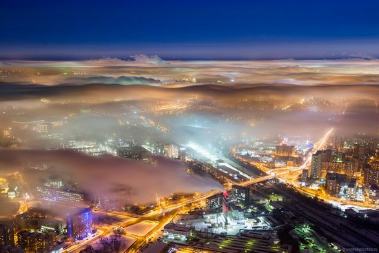 Moscow covered by low clouds, Russia, photo 17