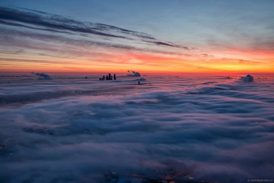 Moscow covered by low clouds, Russia, photo 2
