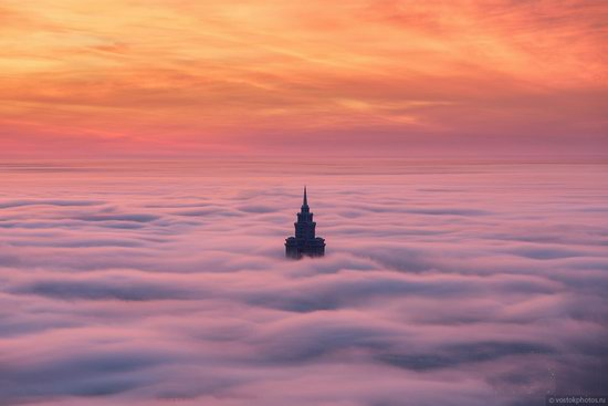 Moscow covered by low clouds, Russia, photo 3