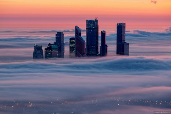 Moscow covered by low clouds, Russia, photo 4
