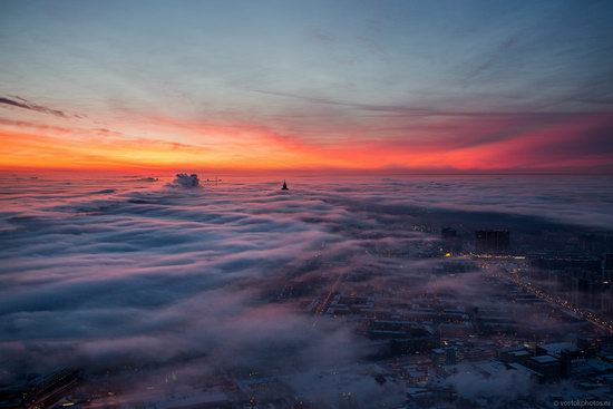 Moscow covered by low clouds, Russia, photo 5