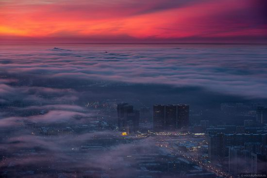Moscow covered by low clouds, Russia, photo 6