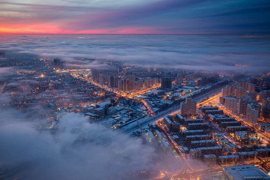 Moscow covered by low clouds, Russia, photo 7